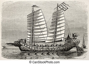 Old illustration of a Junk in Tianjin (Tien Tsin), China. Created by Lebreton after drawing of unidentified Chinese author, published on Le Tour du Monde, Paris, 1864