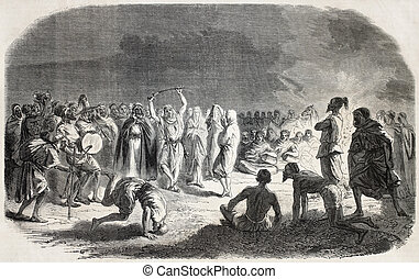 Old illustration of an Arab wedding represented by zouaves in Chalons camp. Created by Janet-Lange after Worms, published on L'Illustration, Journal Universel, Paris, 1857