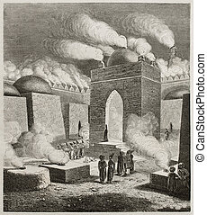 Old illustration of Ateshgah of Baku, or Fire Temple. Created by Moynet, published on Le Tour du Monde, Paris, 1860