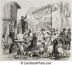 Brienz fair - Old illustration of Brienz fair, in the Swiss...