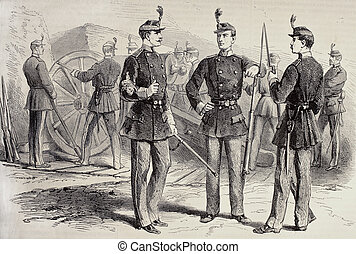 French National Guard uniforms - Old illustration of French...