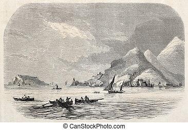 Gulf of La Spezia - Old illustration of Gulf of La Spezia...