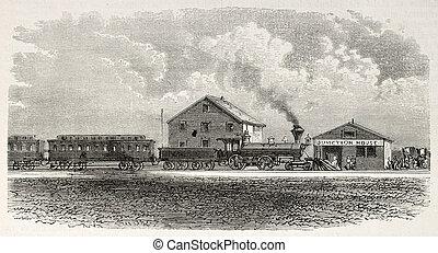 Julesburg railway station - Old illustration of Julesburg...