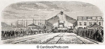 La Rochelle railway station - Old illustration of La...