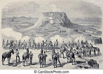 Magdala siege - Old illustration of Magdala siege during...