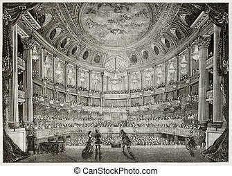 Royal Opera of Versailles - Old illustration of Royal Opera ...