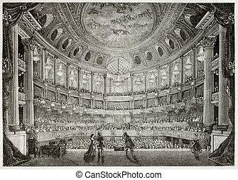 Royal Opera of Versailles - Old illustration of Royal Opera ...
