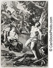 Saint Sebastian - Old illustration of Saint Sebastian...