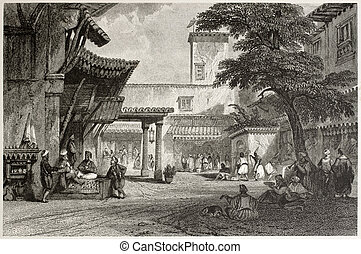 Algiers bazaar - Old illustration of the fig tree Algiers...