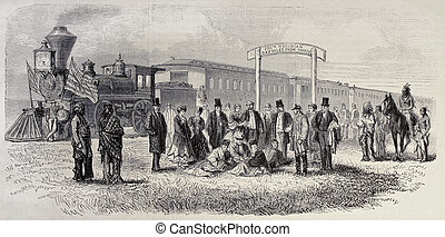 Hundredth meridian - Old illustration of train stop in the...