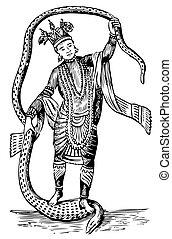 Vishnu in the 8th Avatar - Old illustration of Vishnu in the...