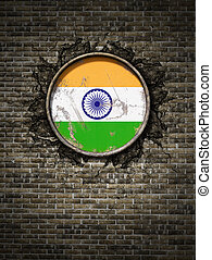Old India flag in brick wall