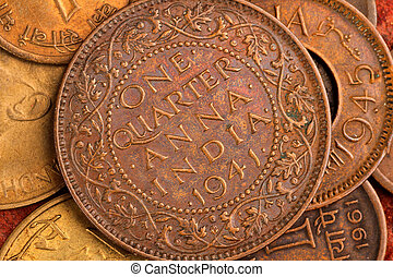Old Indian Currency Coin - One Quarter Anna - Old Indian...