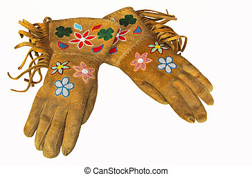 Old Indian gloves - with beautiful beadwork