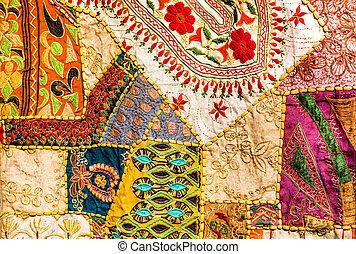 Old Indian patchwork carpet. Rajasthan, India