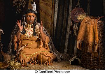 Old Indian storyteller - Mature tribal female storyteller...
