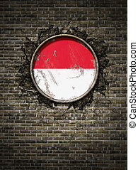 Old Indonesia flag in brick wall