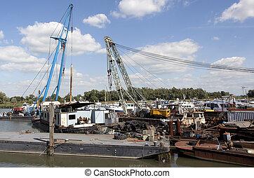 old industrial cranes
