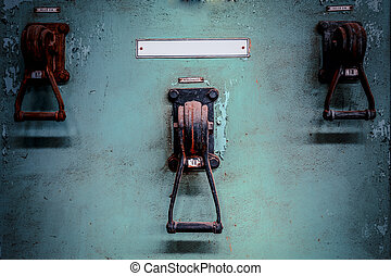 old industrial electronics switch cupboard in a firm