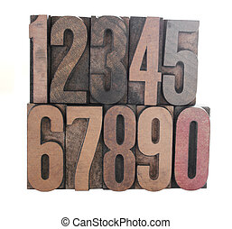 old inkstained letterpress wood numbers isolated on white