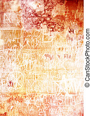 Old inscribed wall: Abstract textured background with red and brown patterns on white backdrop