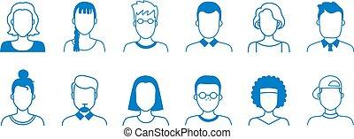 old., interface, utilisateur, symboles, portraits, dessin animé, icons., différent, adolescents, vecteur, adulte, ligne, avatar, dessiné, gens, main, griffonnage, âges