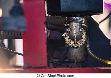 VILLANOVA DEL GHEBBO, ITALY 3 MAY 2020: Old internal combustion engine detail