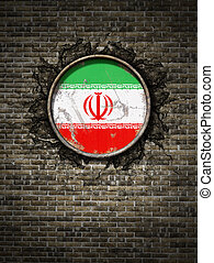 Old Iran flag in brick wall