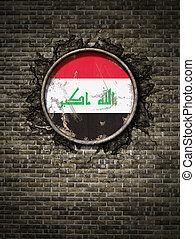 Old Iraq flag in brick wall