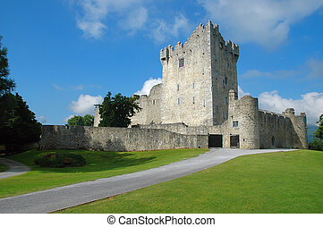 Killarney Castle (Ireland) at a sunny day. At that early daytime no visitors were present.