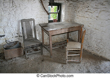 kitchen of old rural Irish cottage dating to the 19th century