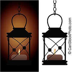 Old iron antique lantern lamp
