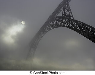 Old iron bridge in the fog