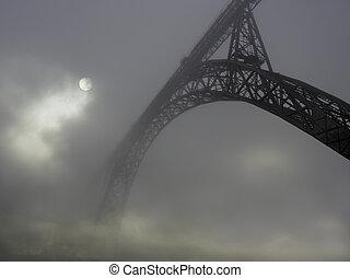 Old iron bridge in the fog