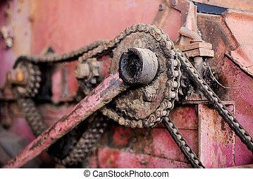 Old iron chain in retro machine.