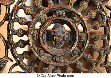 old iron fence detail