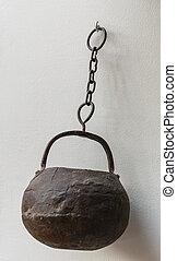 old iron pot