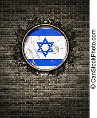 Old Israel flag in brick wall