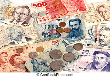 Collection of old notes and coins Israeli money.