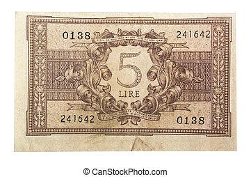 Old italian money lira close up