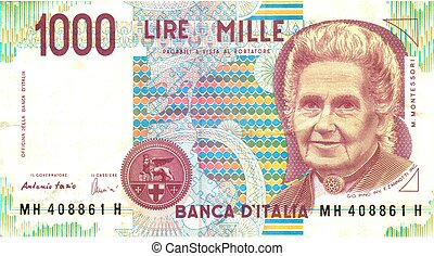 old italian note, 1000 lire