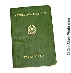 Old italian passport isolated on white background