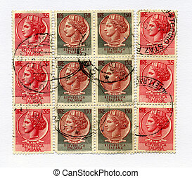 old italian post stamps (heads)