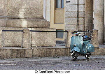 old Italian scooter - Old Italian motor-scooter in urban...