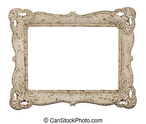 Old ivory-colored picture frame isolated on white background