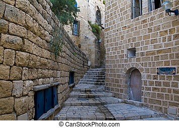 Old Jaffa - A narrow street in historic Jaffa , Israel