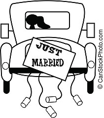 old jalopy with just married sign on back