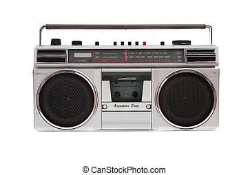 Old jambox on a white background