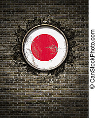 Old Japan flag in brick wall