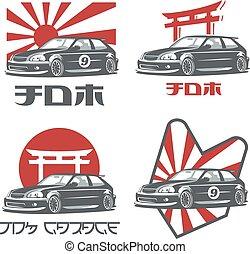 Old japanese car logo, emblems and badges isolated on white background.